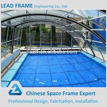 Beautiful solid metal swimming pool enclosures roof