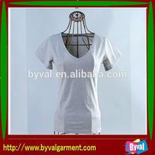100%cotton 180G V-neck Factory Direct Sale Women T-Shirt With Fashion Design