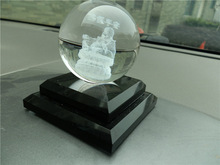 transparent 3D Laser Engraved Crystal Ball with black base