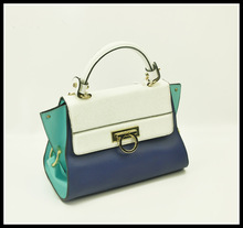 New fashion ladies single handle buckle tote bags shoulder bag white +blue