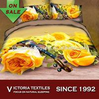 orange flower printed bedding cover set 4pcs duvet cover/quilt cover set