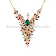Unique style colorful enamel peacock women pendant necklace