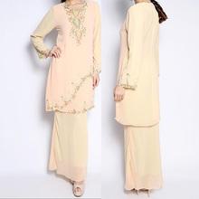 wholesale china factory latest design chiffon beaded yellow long dress muslimah