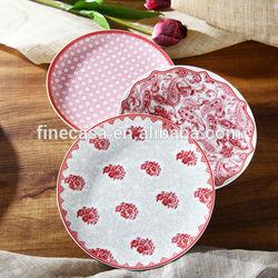 8 Inches Elegant Shallow Decorative Ceramic Pie Plate of Oriental Manor