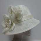 professional millinery manufacture wholesale good quality white color bowler derby hat sinamay hat