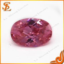 Factory price loose gemstone wuzhou hot sale oval shape pink cubic zirconia jewelry