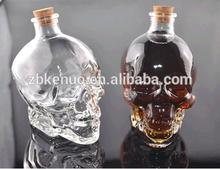 New Design Skulle Glass Wine Bottle With Cork Promotional