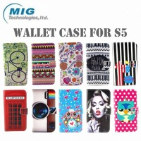 2014 New product Monroe Colorful PU leather wallet case for samsung s5, for samsung galaxy s5 case 10 designs factory price