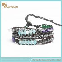 Multilayer loom wrap bracelet 4mm hematite and ettika semi precious stone stretch men's bracelet