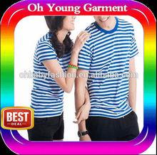 OEM unisex t shirts, light blue navy pinstripe couple t shirts,sea urban men/women t shirts