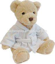 High quality stuffed plush bear toy with bathrobe