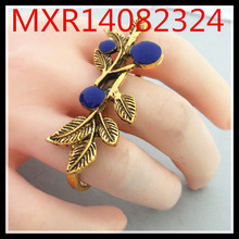 European and American fashion three manufacturers shelf ancient gold ring leaves drip exaggerated joint ring can be adjuste