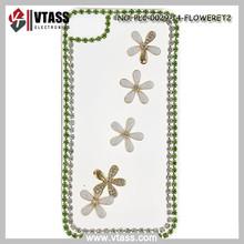 Handmade cute white flower bling rhinestone glittering mini plastic case for Apple iphone 4/4s