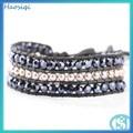 de calidad superior de cristal pulsera de cuero turco de joyas al por mayor