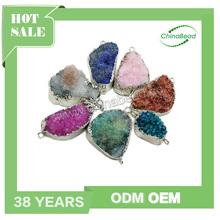 Natural stone druzy pendant, gemstone connectors, natural stone pendants & charms