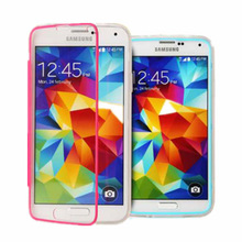 TPU+PC Connection Transparent Touch Screen Case all round Protector cover For samsung galaxy s5 i9600 g900