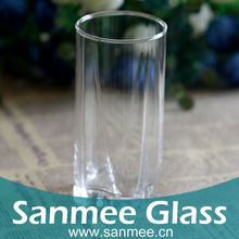 Machine Press-Blow Square Bottom Embossed Glass Cups For Beverage