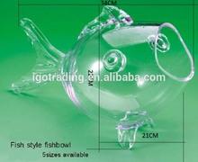 13 Inch cold cut fish shape bowl , glass gold fish shaped bowl, glass goldfish shaped terranium