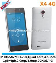 KOMAY Bluboo X4 4G FDD LTE 4.5inch MTK6582 Quad Core Android 4.4 1GB/4GB 8MP 720p Video 4G Smart Phone
