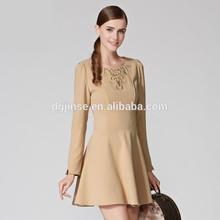 2015 Women Europe Stylish Embroidery High Waist Dress Ladies Long Sleeve Round Neck Mini A Line Mini Puff Dress
