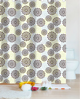 Metal Eyelets printed Flower polyester Shower Curtains