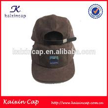Custom Brown Grey Suede 5 Panel Hats/ Suede custom 5 pane hats