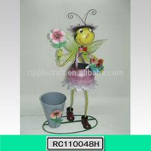Beautiful Bee Metal Pot Garden Decor