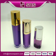 Plastic cosmetics packaging design, new product 15ml 30ml 50ml purple acrylic lotion pump heart bottle