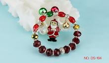 2015 christmas present , European style gold plated charm crystal glass beaded bracelets christmas present