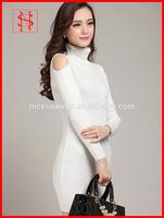 Women wool white ribbed sexy sweater turtleneck dress