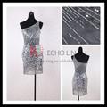 Alta calidad boutique del vestido formal de un hombro con lentejuelas vestido de cóctel