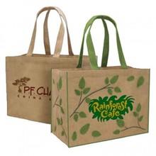 Jute Reusable Leaf Tote, Jute Reusable Junior Tote, Jute resuable eco bag