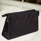 Fashion waterproof diamond check dark blue toiletry bag (black)