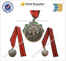 2014 anos hot ventes de haute qualité en alliage de zinc 3d conception cuivre plaqué usine médaille
