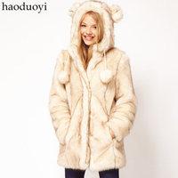 Women Lovely Faux Fur Coats Two Big Ear Winter Jackets for Wholesale Haoduoyi