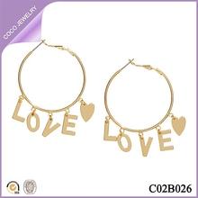 new look fashion metal hoop earrings with love letter pendants