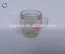 wholesale 3 oz clear glass pumpkin juice mug with handle