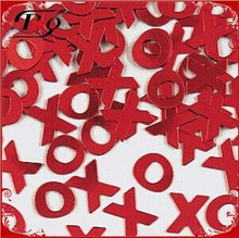 wedding decoration red X & O shaped wedding confetti