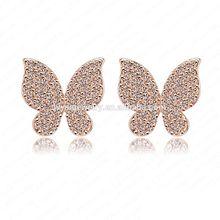 Fashion Crystal Earrings 18K Gold Plate Earring Studs With Real Butterfly Wings Earrings
