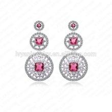 2014 Fashion Earrings Real Platinum Plating Drop Earrings Cute Pink Cubic Zircon Inlayed Girl Earrings