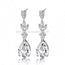 2014 Delicate Dangle Drop Earring Attractive Shining Platinum Plating Inlay Fashion Zircon Earrings