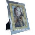 Nuevo diseño de vidrio marco de fotos 4 6 por pulgada, suave con el color oro o plata frontera de metal