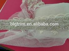 Fashion rhinestone motif sliver waist crystal sash belt for women
