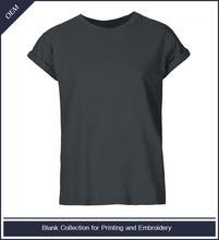 Woman cotton blank roll sleeve t-shirt