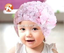 Pink Girls Baby Lace Flower Rose Bonnet Hat Cap Beanie Headwear Accessory JB37