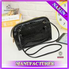 PU leather black with long shoulder belt wallet fashion leather ladies elegant purse