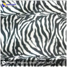 100% polyester zebra printed normal velvet fabric