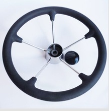 NEW 5 Spoke With PU Foam 15.5 inch Stainless Steel Boat Steering Wheel