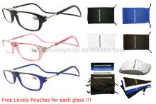 Neck around magnetic reading glasses with microfiber case ,long temples reading glasses with magnet nose bridge