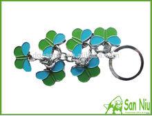 Zinc alloy metal color leaves key ring SOFT pvcm key chain